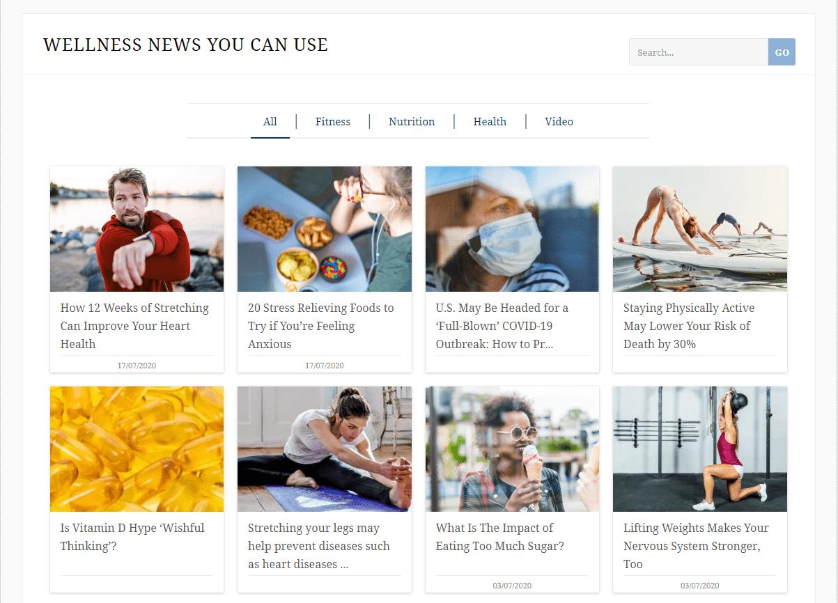online health and wellness newsletter